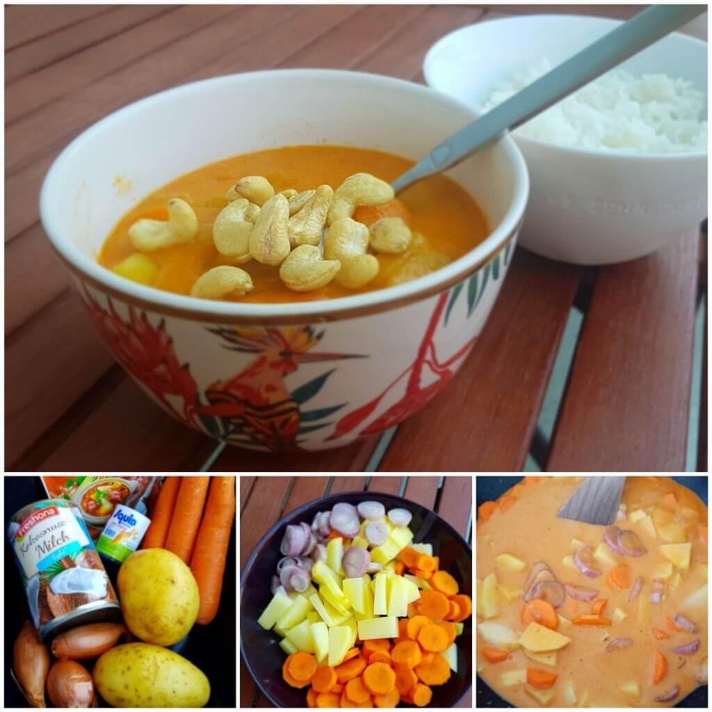 Massaman Curry vegetarisch mit Cashew Nüssen