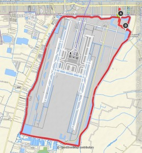 Karte Skylane - Fahrradfahren am Flughafen Bangkok