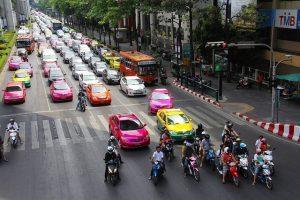 Taxi and bus on Bangkok street