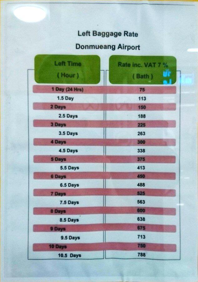 Preise Gepäck Don Muang
